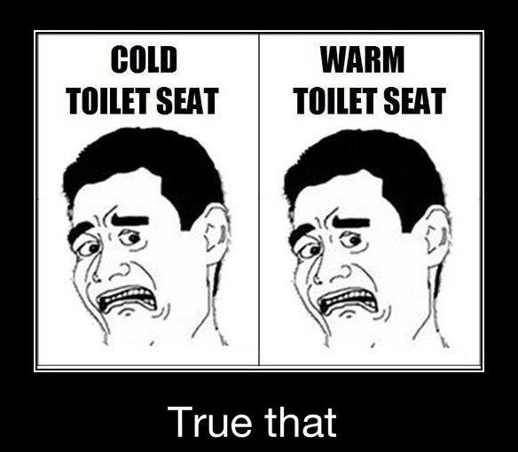 Cold toilet seat