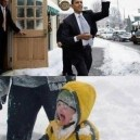 Obama in a snow fight