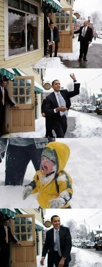 Obama in a snow fight