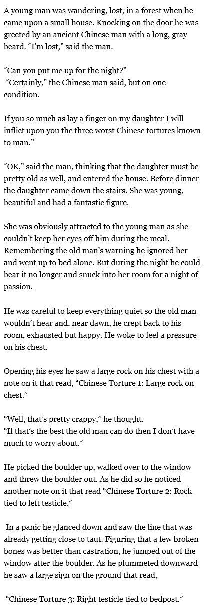 The old man and the Chinese tortures