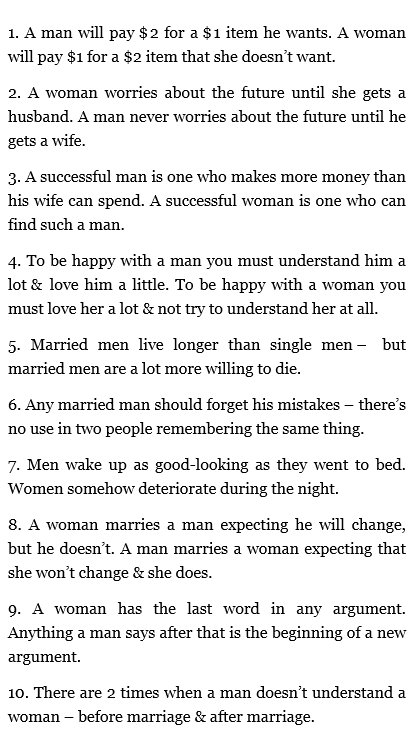 10 Differences between men and women
