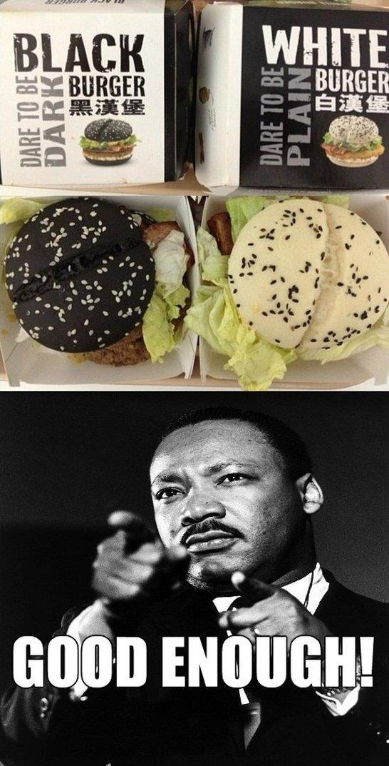 Black hamburger vs. White hamburger