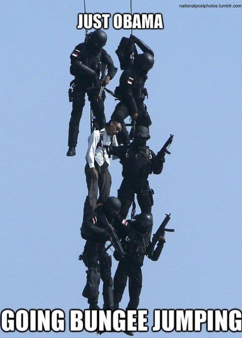 Obama going bungee jumping