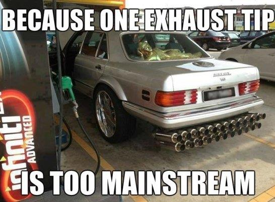 One exhaust tip