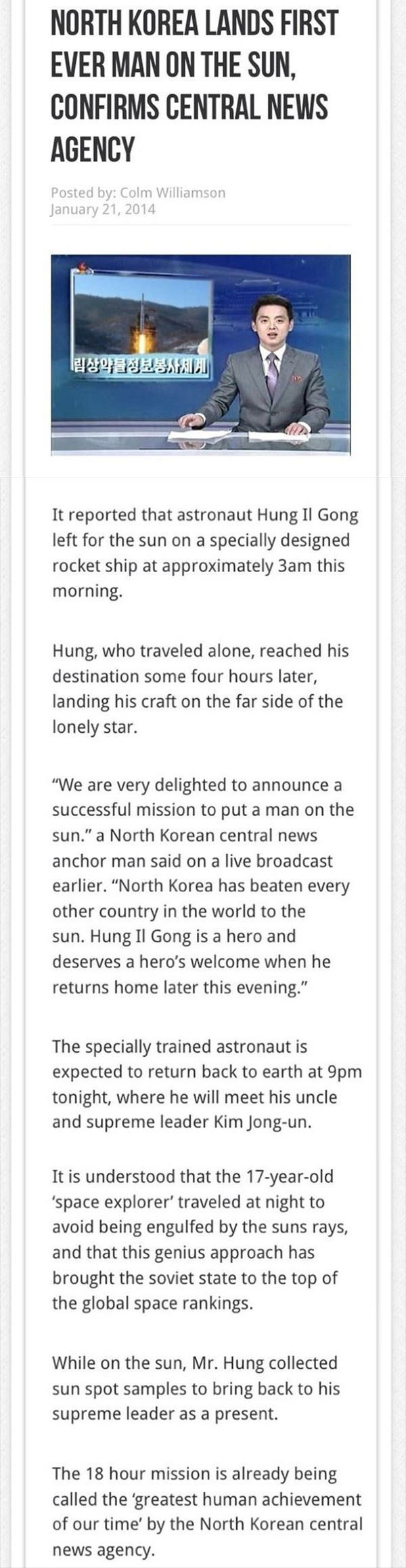 North Korea lands on sun