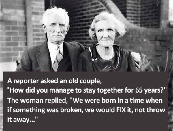 Wise words from old couple