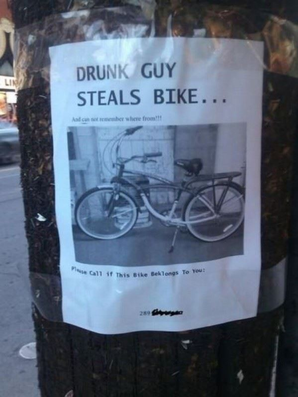 Drunk guy steals bike