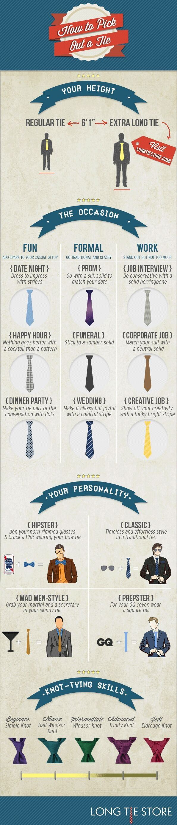 How to Pick A Tie Infographic