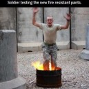 Testing fire resistant pants