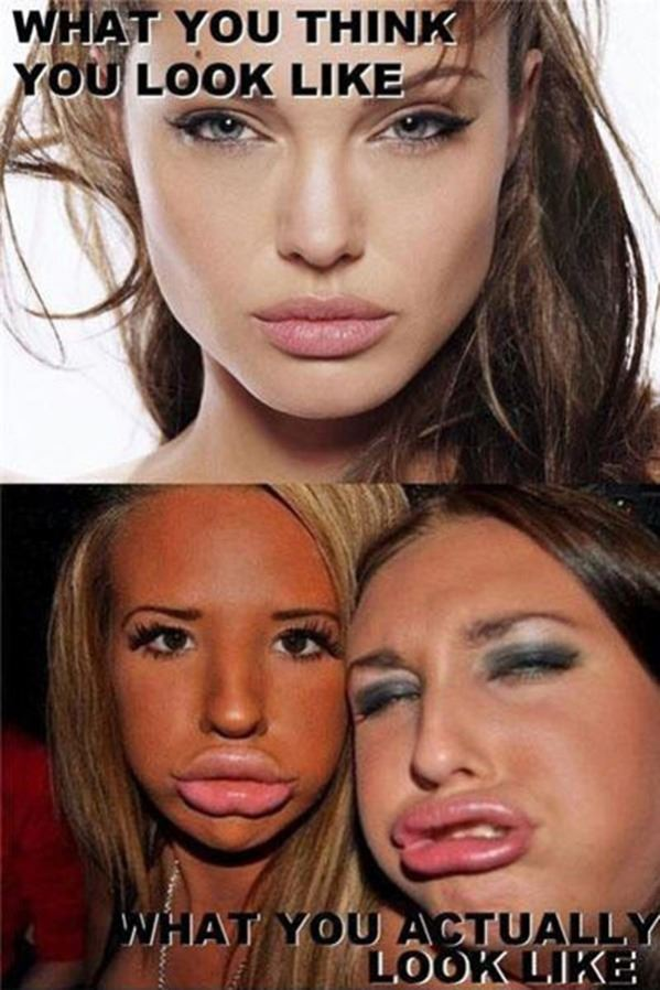 The duckface look