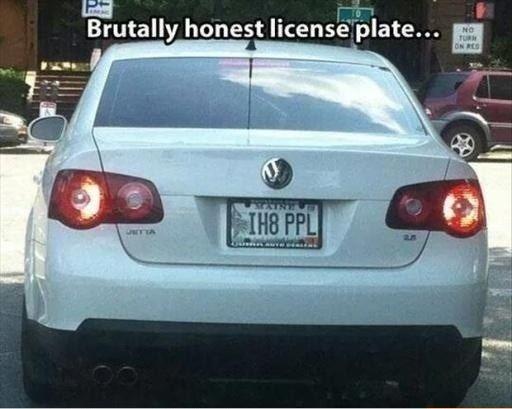 Honest license plate