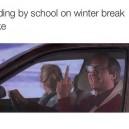 Riding by school on winter break