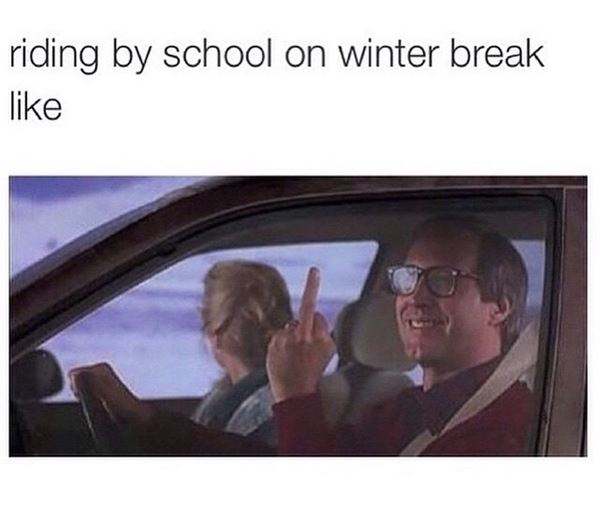 Riding by school on winter break