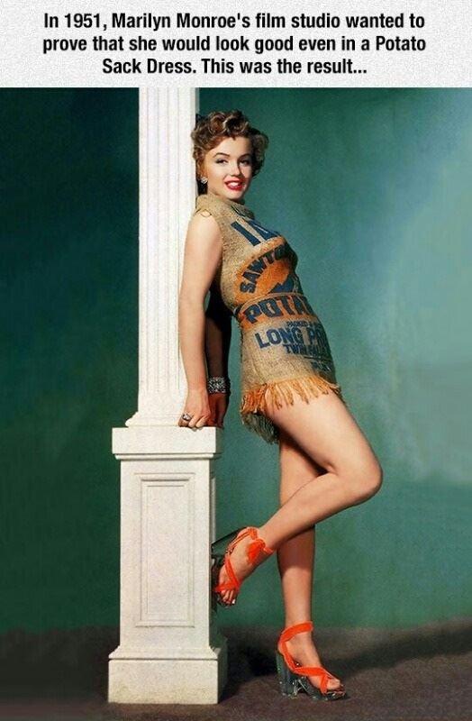 Marilyn Monroe in a potato sac