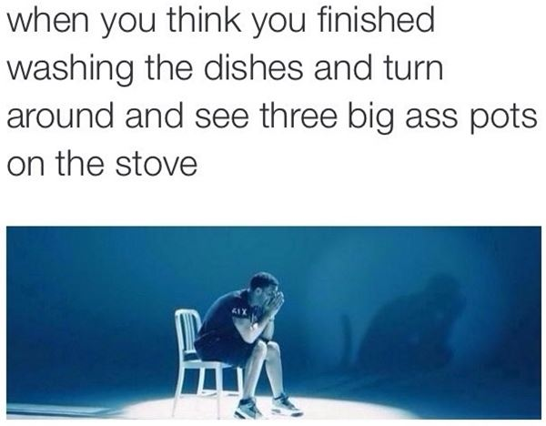Washing the dishes like