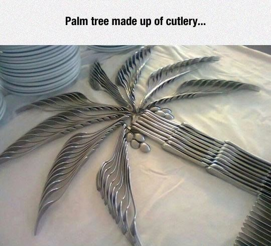 Palm tree made up of cutlery