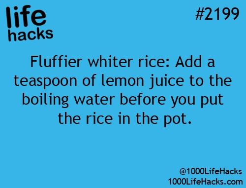 Life Hacks Fluffier White Rice
