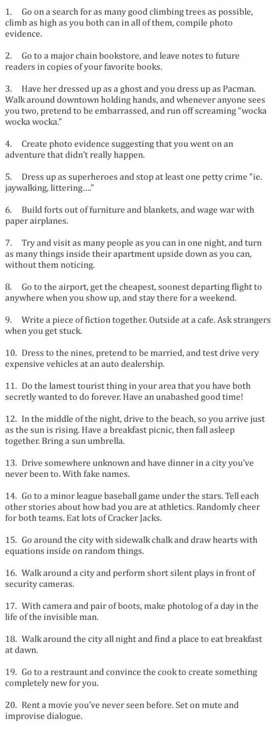List of cute date ideas