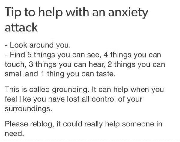 Tip to help with an anxiety attack