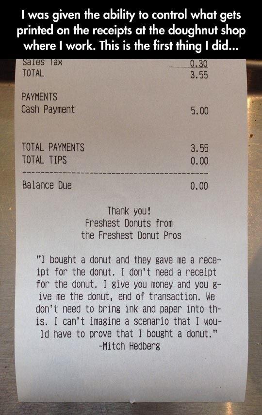 Donut Receipt