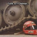 Tanks vs. F1 helmet
