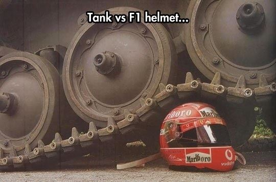 Tanks vs. F1 helmet