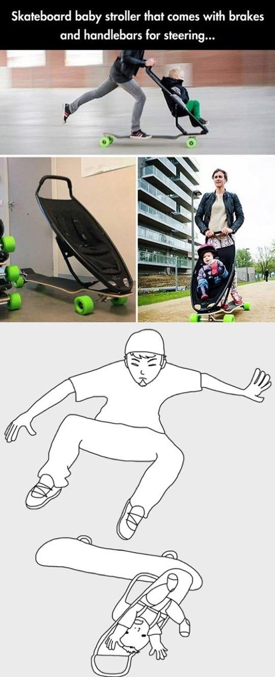 Skateboard with baby stroller