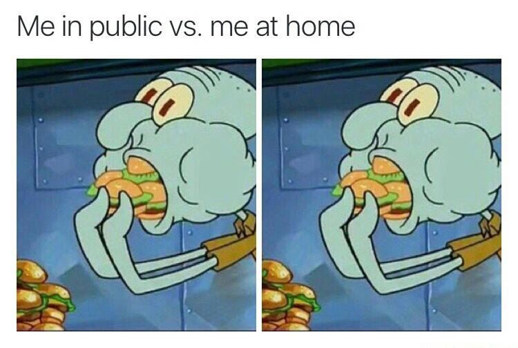 Eating at home vs. in public