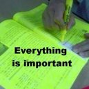 When the lecturer gave you a short notes and you trying to highlight the important points